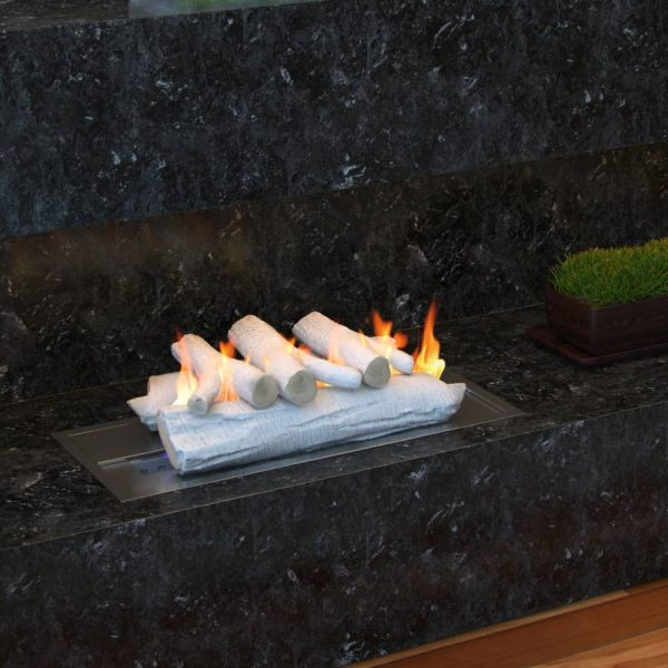 """5 Piece 16"""" Ceramic Wood Gas Fireplace Logs Logs for All Types of Indoor, Gas Inserts, Ventless & Vent Free, 2"""