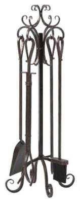 5 Piece Brushed Bronze Scroll Top Fireplace Tool Set Powder Coated Ste