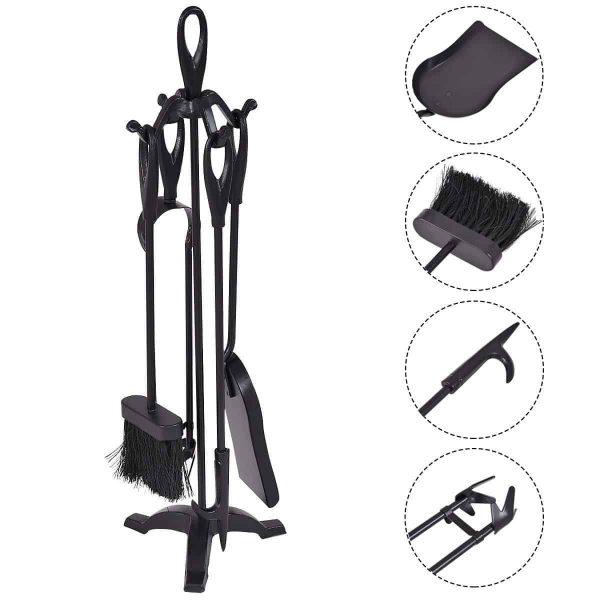5 pcs Stylish Black Iron Fireplace Tools Set 1