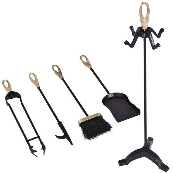5 pcs Stylish Gold Iron Fireplace Tools Set 3