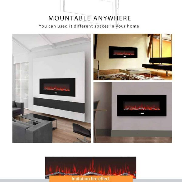50.4 Inch 120V 750W / 1500W 2 Heat Modes Wall Mounted Electric Fireplace Heater 1
