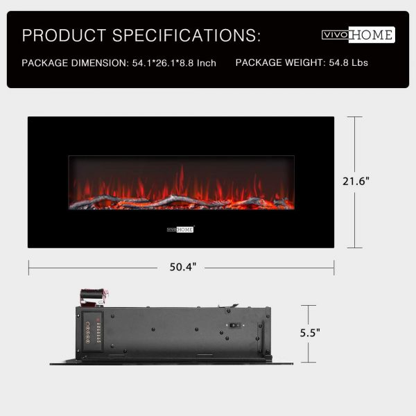 50.4 Inch 120V 750W / 1500W 2 Heat Modes Wall Mounted Electric Fireplace Heater 2