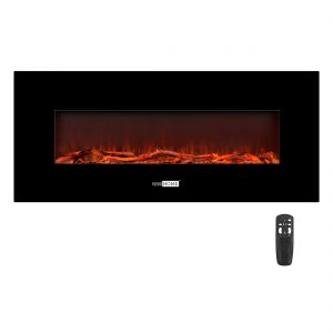 50.4 Inch 120V 750W / 1500W 2 Heat Modes Wall Mounted Electric Fireplace Heater