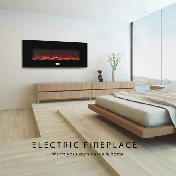 50.4 Inch 120V 750W / 1500W 2 Heat Modes Wall Mounted Electric Fireplace Heater 5