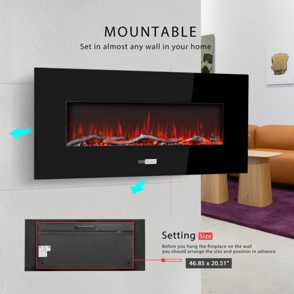 50.4 Inch 120V 750W / 1500W 2 Heat Modes Wall Mounted Electric Fireplace Heater 6
