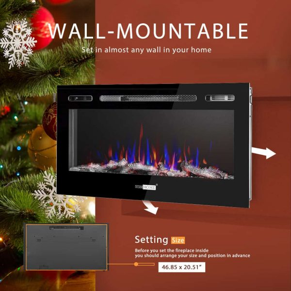 50.4 Inch 120V 750W / 1500W 2 Heat Modes Wall Mounted and in Wall Recessed Electric Fireplace Heater 3