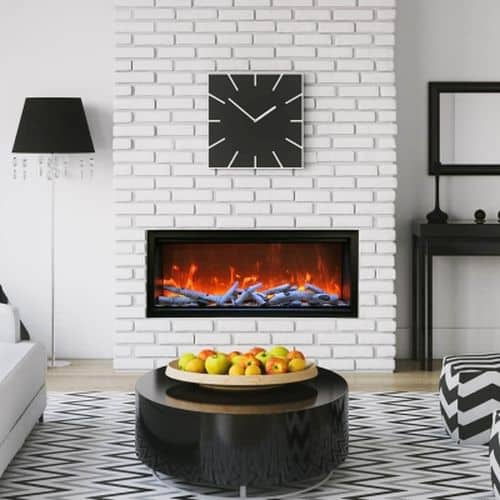 "50"" Extra Tall Clean Face Symmetry Electric Fireplace w/Birch Logs"