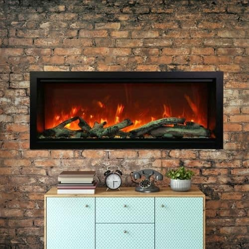 "50"" Extra Tall Clean Face Symmetry Electric Fireplace w/Rustic Logs"