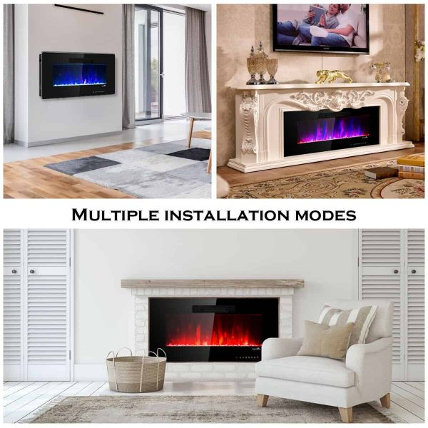 "50"" Recessed Electric Fireplace In-wall Wall Mounted Electric Heater 3"