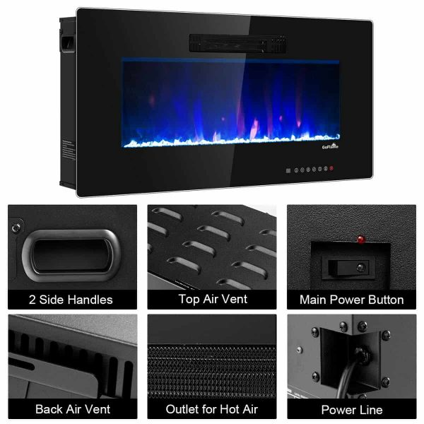 "50"" Recessed Electric Fireplace In-wall Wall Mounted Electric Heater 4"