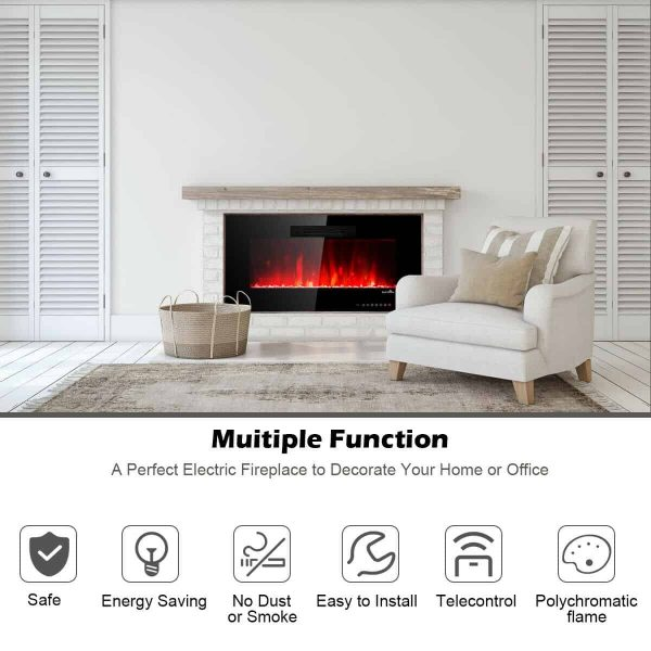 "50"" Recessed Electric Fireplace In-wall Wall Mounted Electric Heater 5"