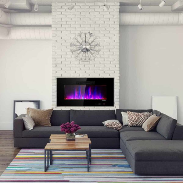 "50"" Recessed Electric Fireplace In-wall Wall Mounted Electric Heater 7"