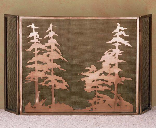"50""W X 30""H Tall Pines Folding Fireplace Screen 32281"