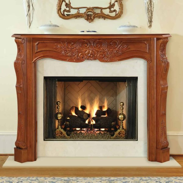 """53.5"""" Brown The Deauville Fireplace Mantel Fruitwood Finish"""