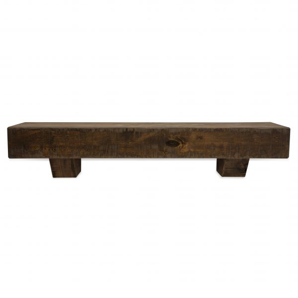 60 in. Rough Hewn Dark Chocolate Fireplace Mantel with Corbels