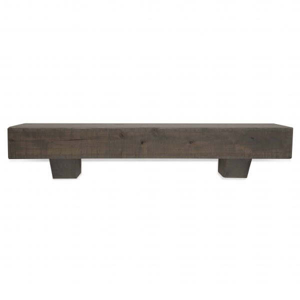 60 in. Rustic Ash Gray Fireplace Mantel with Corbels