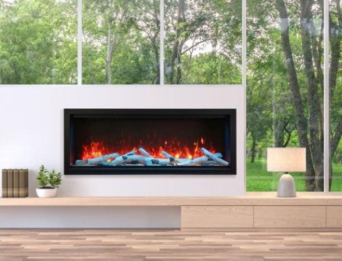 """60"""" Extra Tall Clean Face Symmetry Electric Fireplace w/Driftwood Logs"""