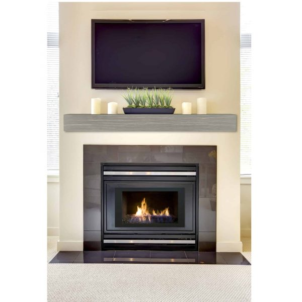 "60"" Gray Wash Finish Zachary Non-Combustible Mantel Shelf 4"