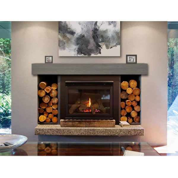 "60"" Gray Wash Finish Zachary Non-Combustible Mantel Shelf 5"