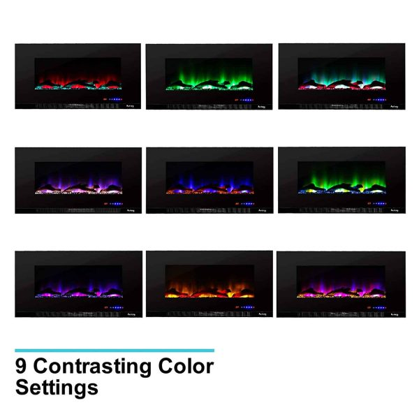 "60"" Ultra-slim LED Wall-mount Electric Fireplace w/ 9 Color Ambiance Options by e-Flame USA 3"