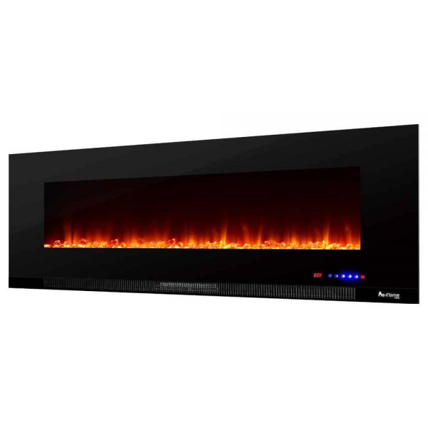 "60"" Ultra-slim LED Wall-mount Electric Fireplace w/ 9 Color Ambiance Options by e-Flame USA 4"