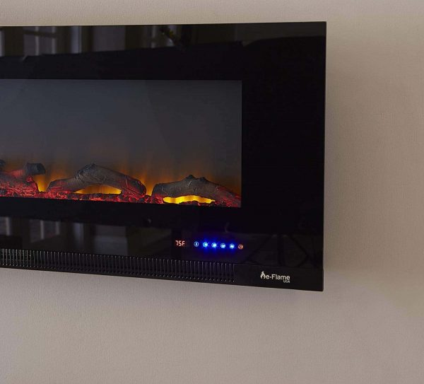 "60"" Ultra-slim LED Wall-mount Electric Fireplace w/ 9 Color Ambiance Options by e-Flame USA 6"
