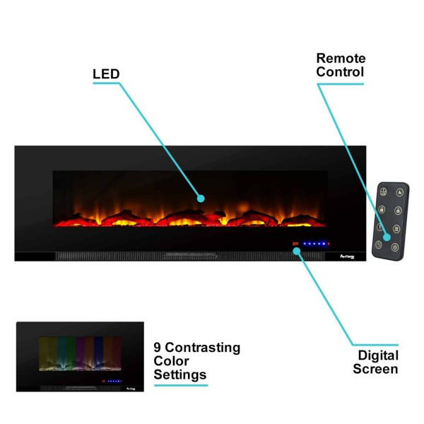 "60"" Ultra-slim LED Wall-mount Electric Fireplace w/ 9 Color Ambiance Options by e-Flame USA 7"