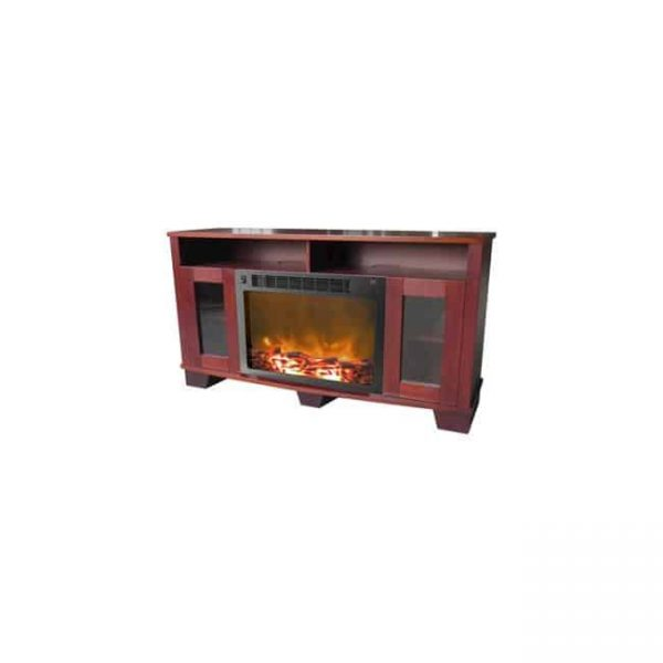 61.8 x 14.6 x 22 in. Fireplace Mantel with Log Electric Insert
