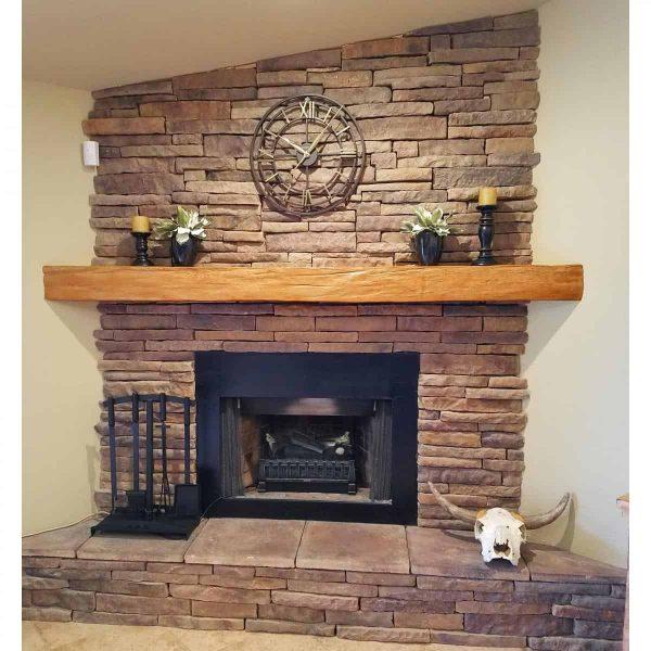 "6""H x 10""D x 72""W Hand Hewn Faux Wood Fireplace Mantel, Walnut Stain 8"