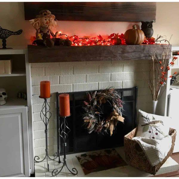 "6""H x 6""D x 48""W Sandblasted Faux Wood Fireplace Mantel, Pecan 10"