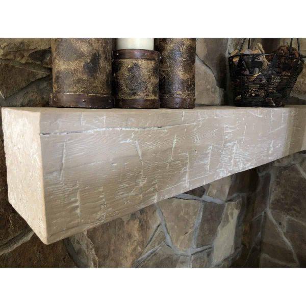 "6""H x 6""D x 48""W Sandblasted Faux Wood Fireplace Mantel, Pecan 12"