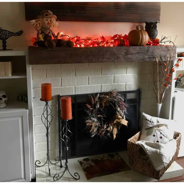 """6""""H x 8""""D x 60""""W Hand Hewn Faux Wood Fireplace Mantel, Whitewash 10"""