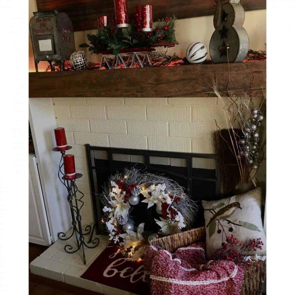 """6""""H x 8""""D x 60""""W Hand Hewn Faux Wood Fireplace Mantel, Whitewash 11"""