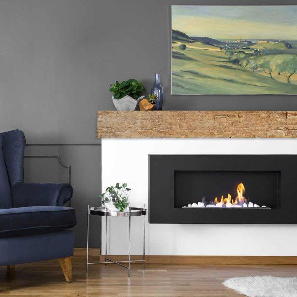"""6""""H x 8""""D x 60""""W Hand Hewn Faux Wood Fireplace Mantel, Whitewash 4"""