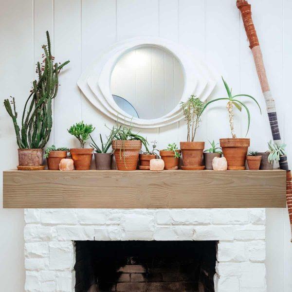 """6""""H x 8""""D x 60""""W Hand Hewn Faux Wood Fireplace Mantel, Whitewash 5"""