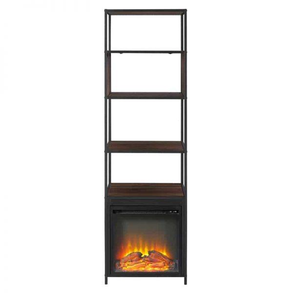 "70"" Metal and Wood Tower Fireplace - Dark Walnut 3"