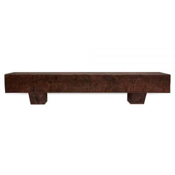 72 in. Rough Hewn Mahogany Fireplace Mantel with Corbels