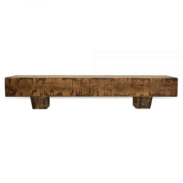 72 in. Rustic Aged Oak Fireplace Mantel with Corbels