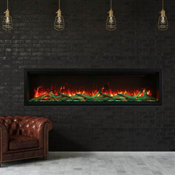 """74"""" Extra Tall Clean Face Symmetry Electric Fireplace w/Driftwood Logs 1"""