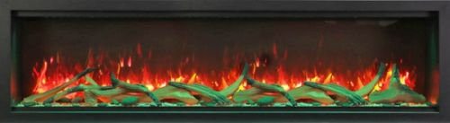 """74"""" Extra Tall Clean Face Symmetry Electric Fireplace w/Driftwood Logs"""