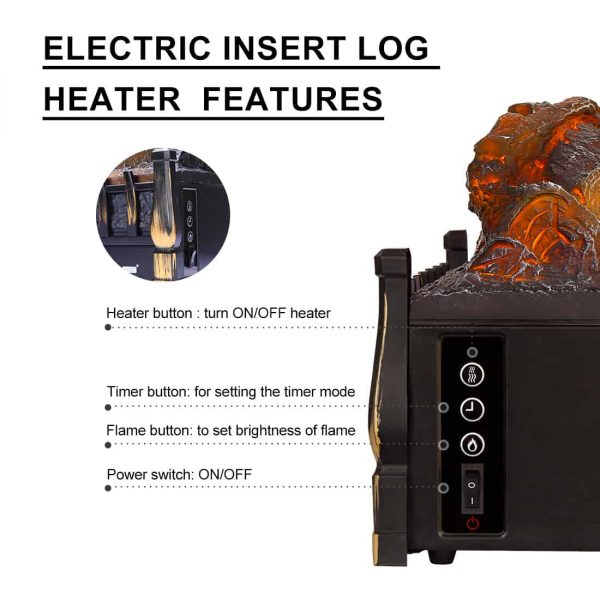 750/1500W Electric Fireplace Log Insert Heater Remote Controller Golden 1