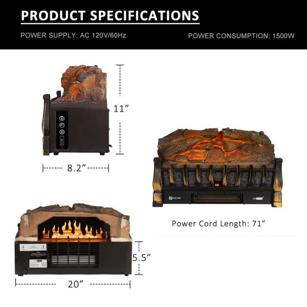 750/1500W Electric Fireplace Log Insert Heater Remote Controller Golden 2