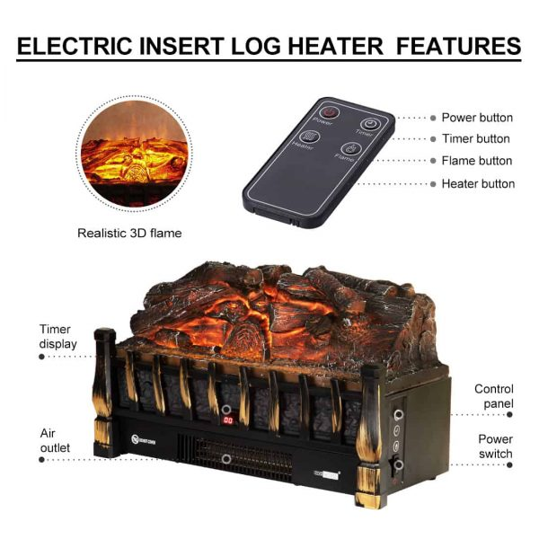 750/1500W Electric Fireplace Log Insert Heater Remote Controller Golden 6