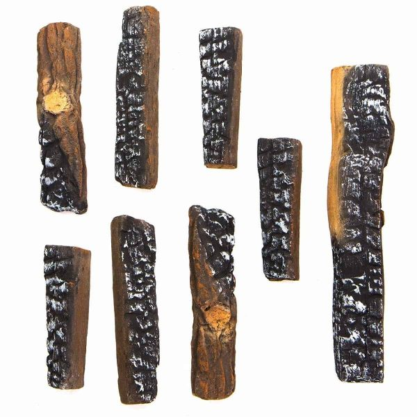 8 PC Decorative Realistic Flame Petite Fireplace Ceramic Wood Log Set 2