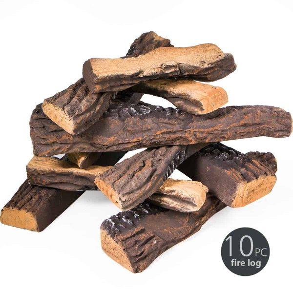 8 PC Decorative Realistic Flame Petite Fireplace Ceramic Wood Log Set