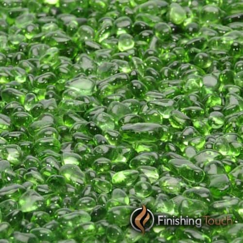 """8 Pound Container 1/4"""" Electric Green Glass Pebbles"""