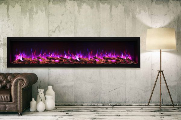 "88"" Extra Tall Clean Face Symmetry Electric Fireplace w/Driftwood Logs 1"