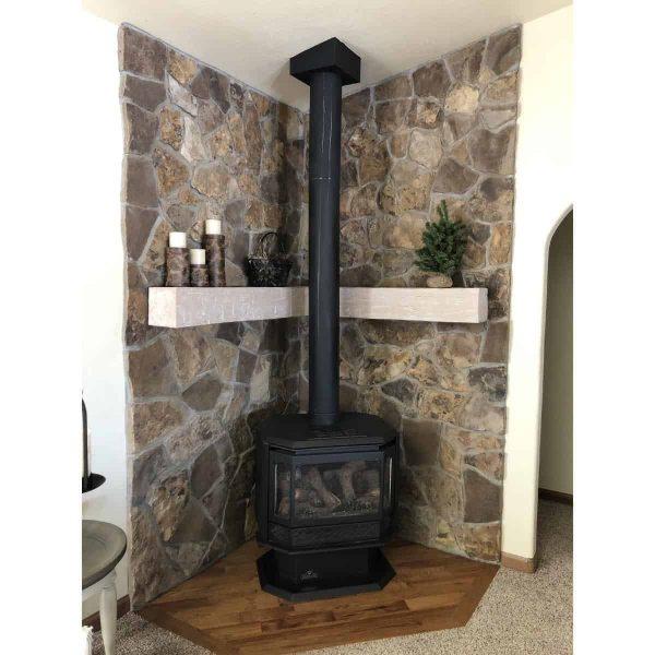 "8""H x 10""D x 84""W Rough Sawn Faux Wood Fireplace Mantel, Walnut Stain 14"