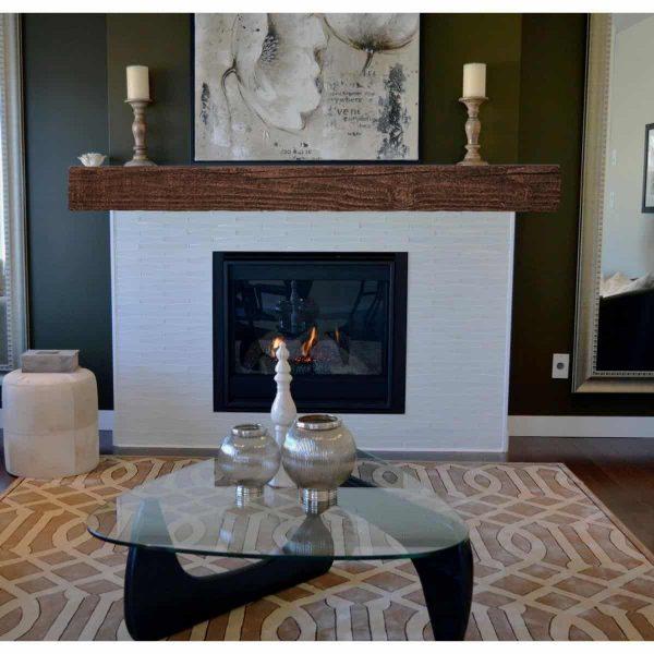 "8""H x 12""D x 84""W Hand Hewn Faux Wood Fireplace Mantel, Persian Walnut 9"