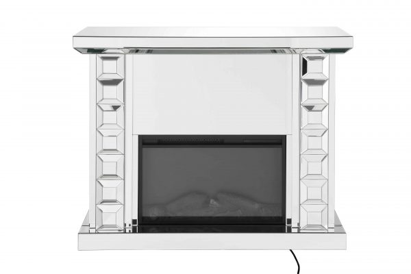 ACME Dominic Free Standing Mirrored Fireplace with Remote Control 1